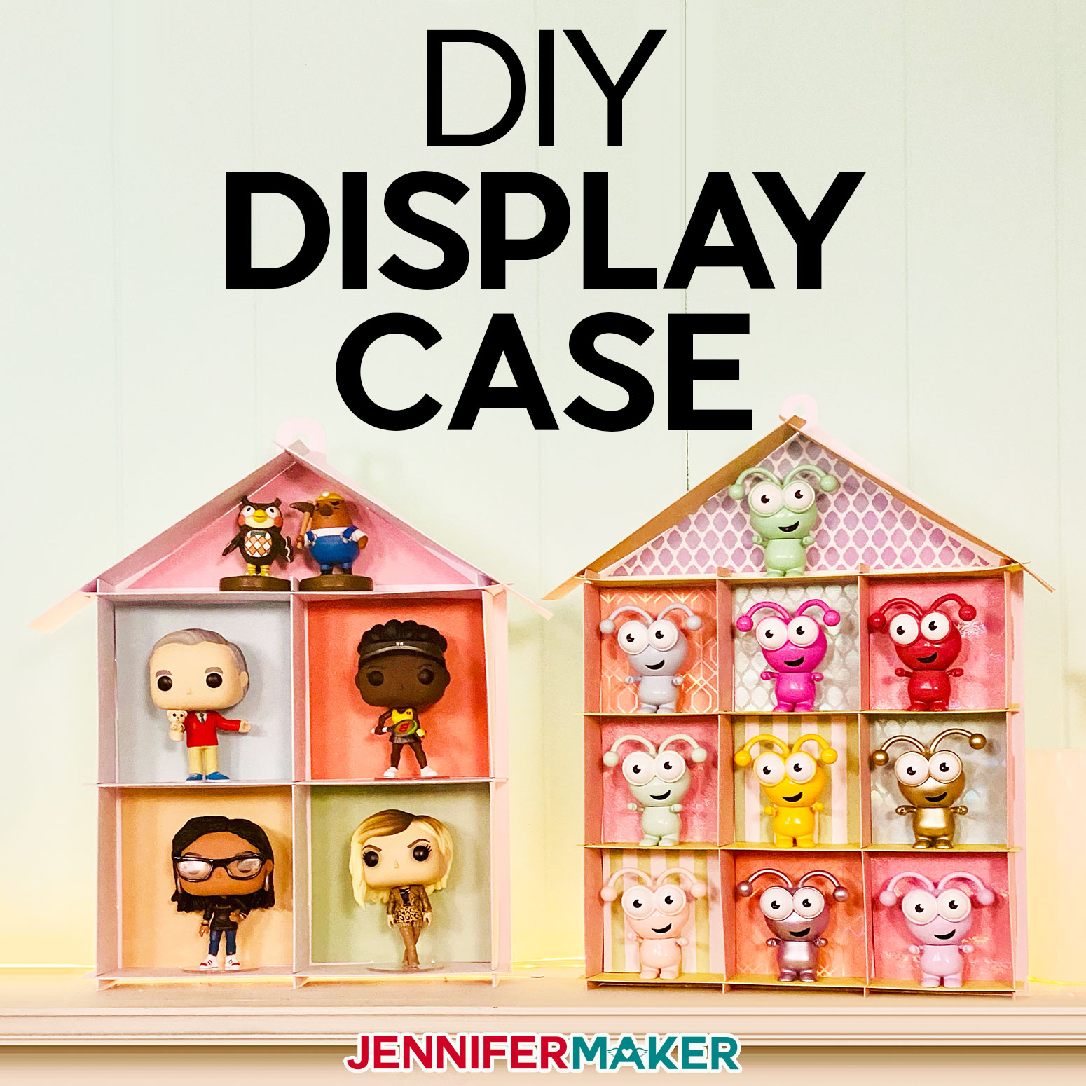 DIY Display Case for Cricut Cuties and Funko Pop Figures - Made from Kraft Board or Cardstock cut on a Cricut with a free SVG cut file!