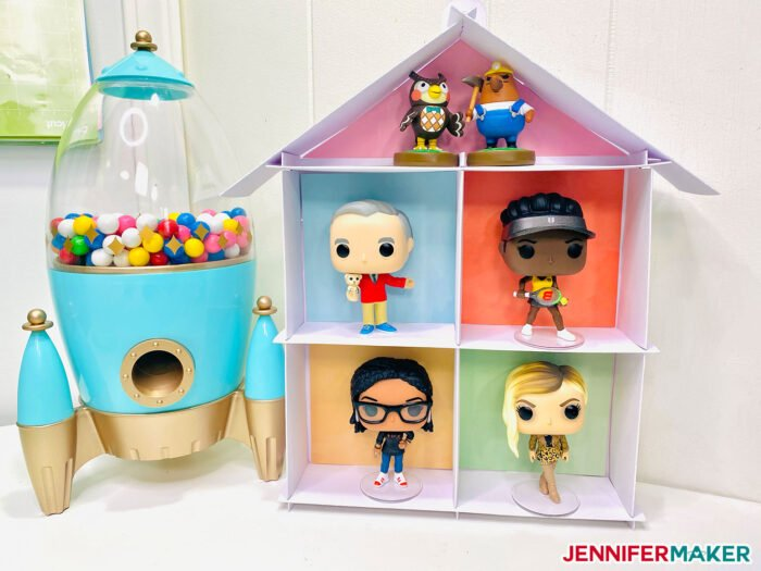 Funko Pop figures in my DIY display case made from Kraft board and cut on a Cricut Explore