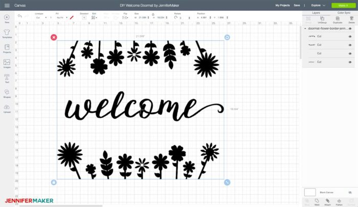 DIY Welcome Mat in Cricut Design Space with dimensions