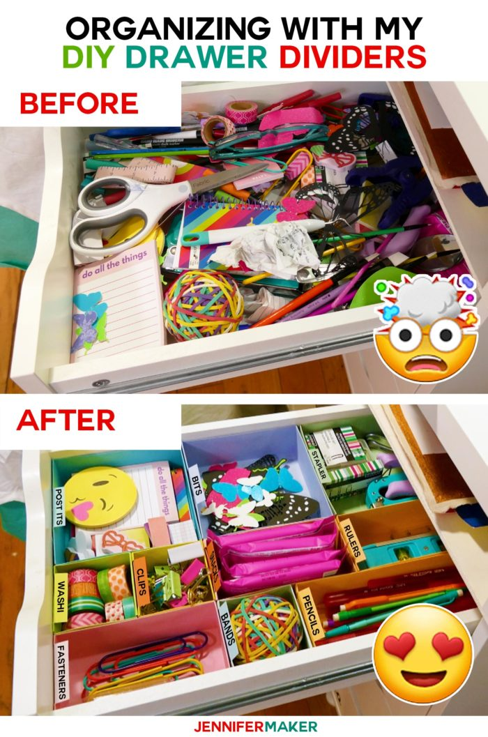 A messy drawer gets organized with my DIY drawer dividers