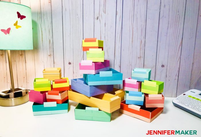 Colorful card boxes made by hand to become DIY drawer dividers to organize a drawer