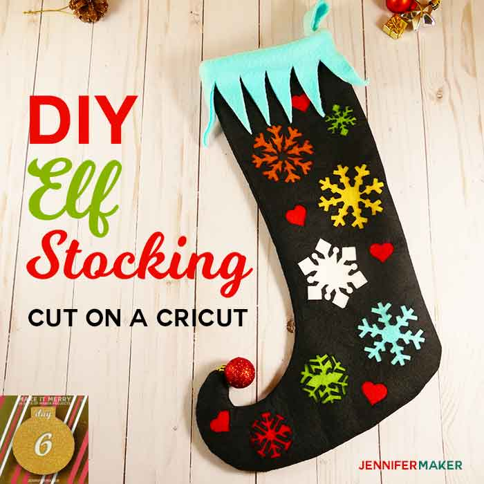 DIY Elf Stocking with a Curly Toe, Snowflakes, and Hearts for #Christmas | Free Sewing Pattern | Cricut SVG Cut File | Felt and Fleece Christmas Stocking | #christmas decor | Cricut Maker Projects