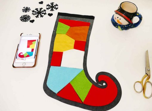 Piece the colored fabric onto the back of your elf stocking
