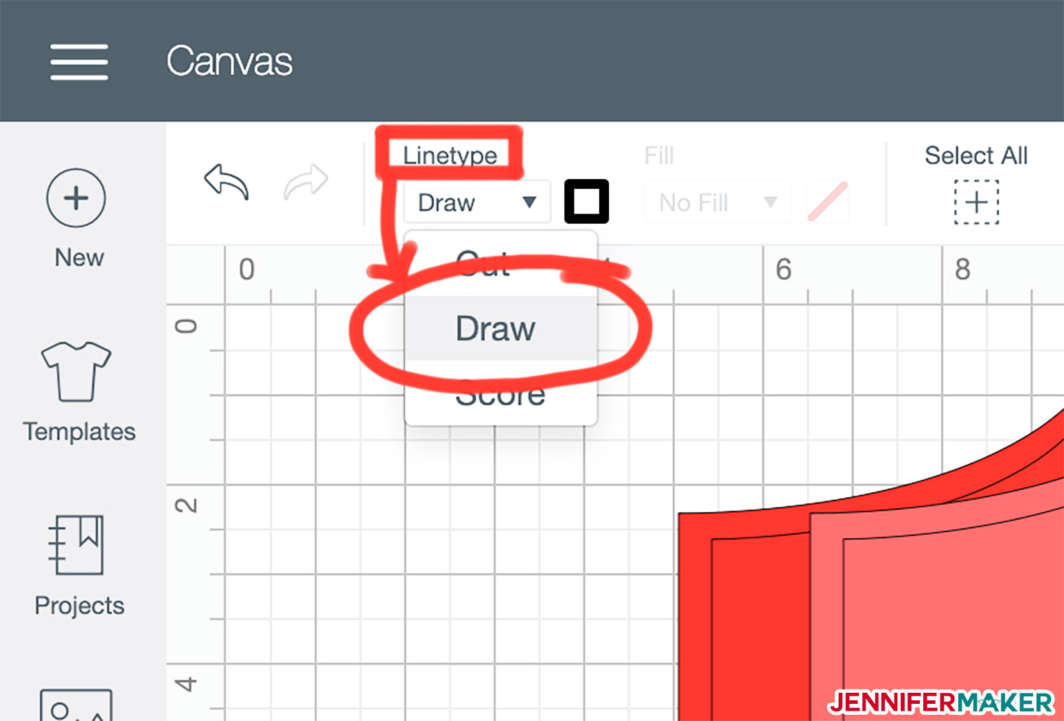 Change your seam allowance lines from cut to draw with the Linetype menu in Cricut Design Space