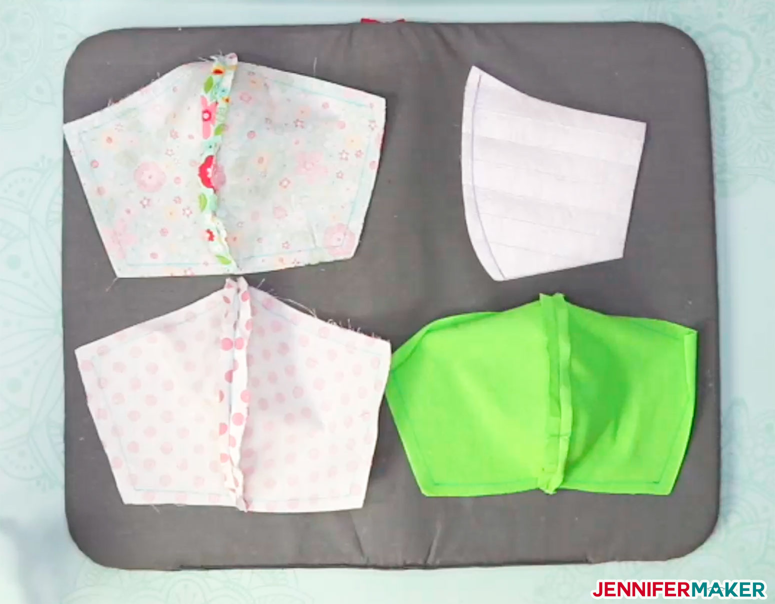 DIY face mask pattern pieces with the seams pressed open