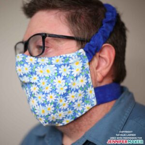 Chad Larner wearing his DIY face mask made on a Cricut with velcro straps