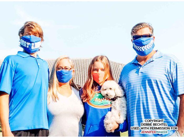 family wearing diy face masks by JenniferMaker