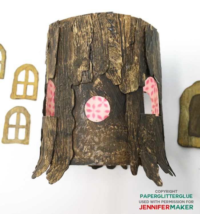 Painted and distressed paper looks like a tree stump for a paper fairy house