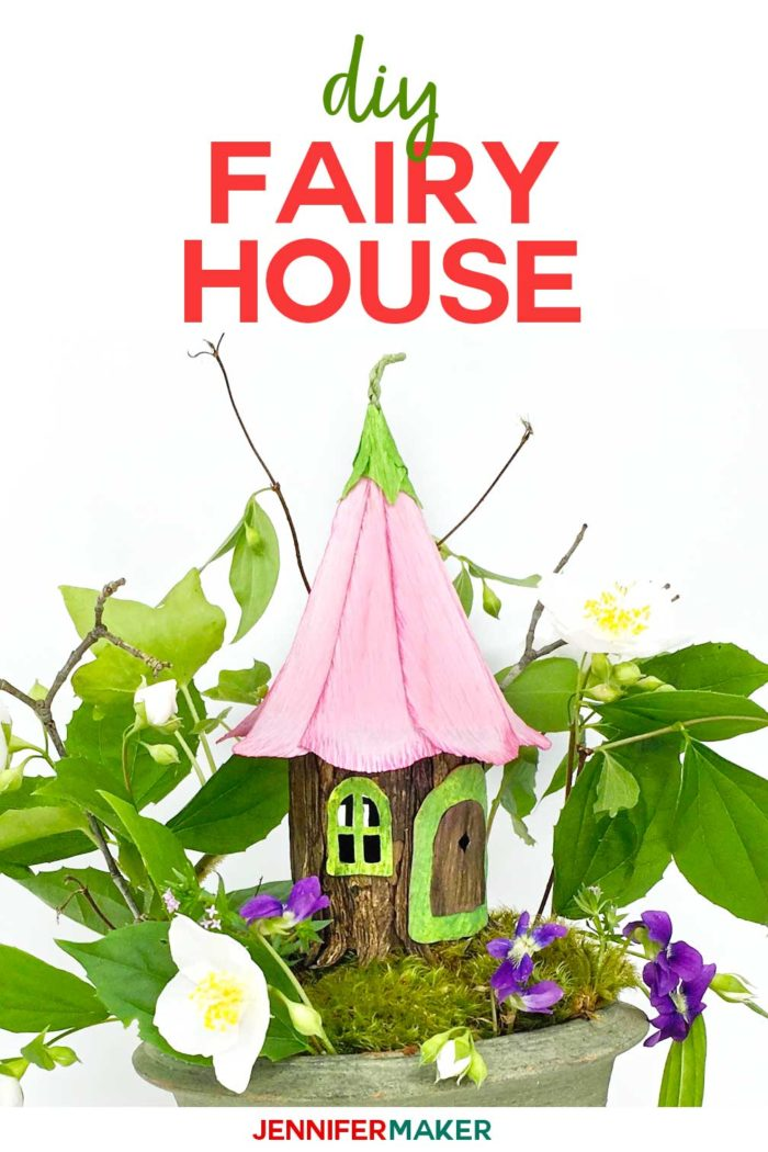 DIY Fairy House with a flower petal roof made entirely from paper and glue with a full tutorial, including free templates and SVG cut files! #cricutmade #fairyhouse #papercraft #svgcutfiles