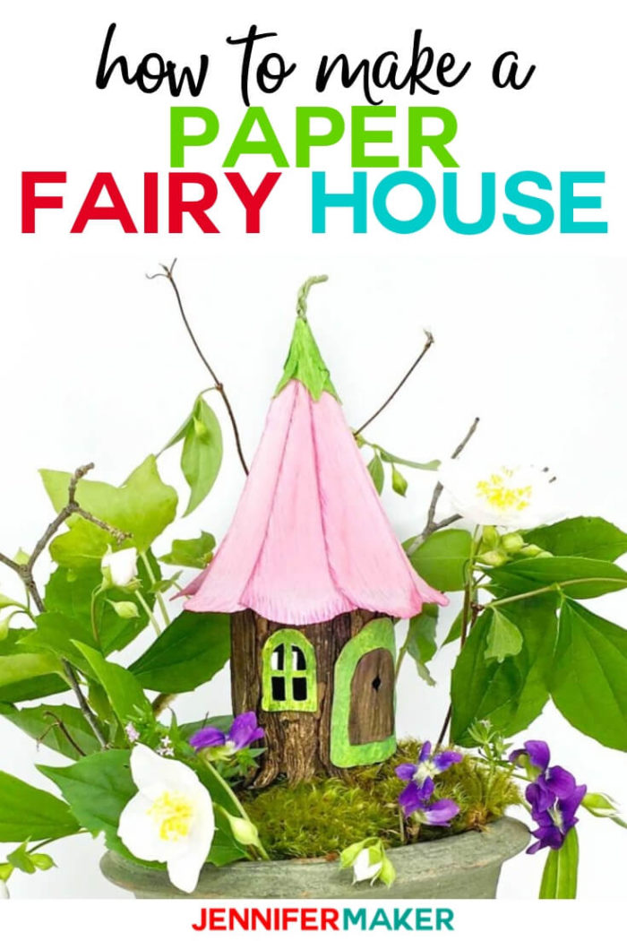 See exactly how to make an adorable fairy house that looks like a tree stump ... just from PAPER! This step-by-step tutorial shows you everything you need to recreate this perfect little house of happiness.  #cricut #cricutmade #cricutmaker #cricutexplore #svg #svgfile