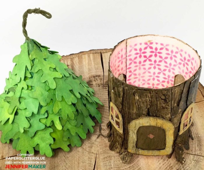 Roof removed from the paper DIY fairy house with leafy roof