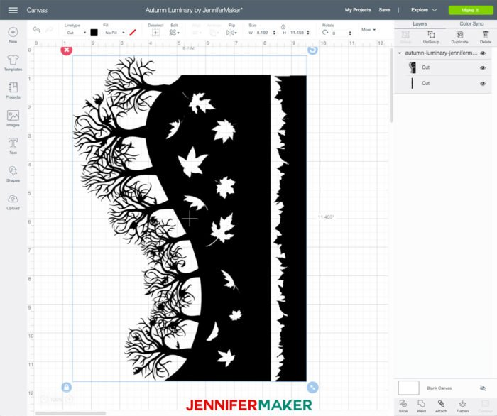 Fall Luminary SVG cut file uploaded to Cricut Design Space
