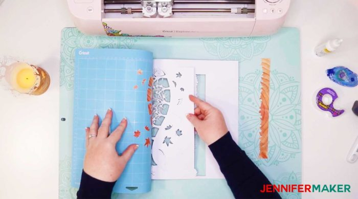 Removing the fall luminary from the Cricut cutting mat