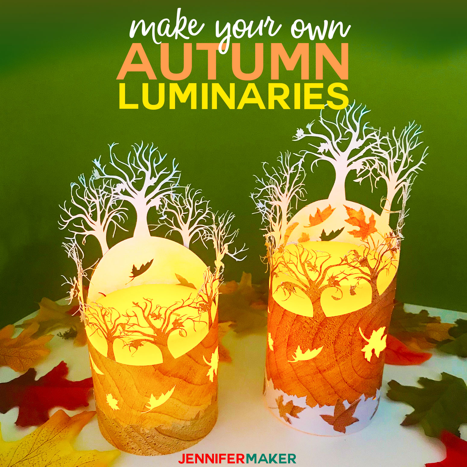 DIY Fall Luminary from Paper - Made on a Cricut | #luminary #papercraft #svgcutfile #cricut