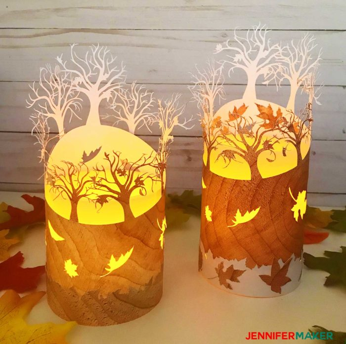 Two pretty paper fall luminaries with falling leaves
