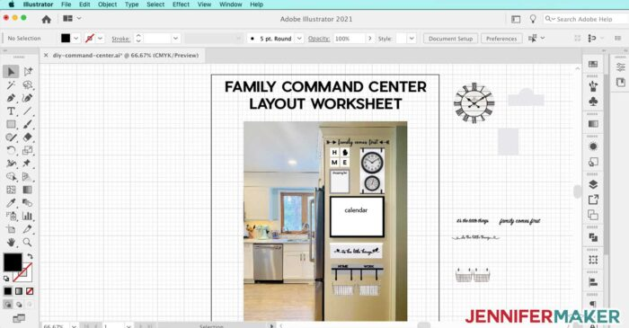 Planning my family command center in Adobe Illustrator