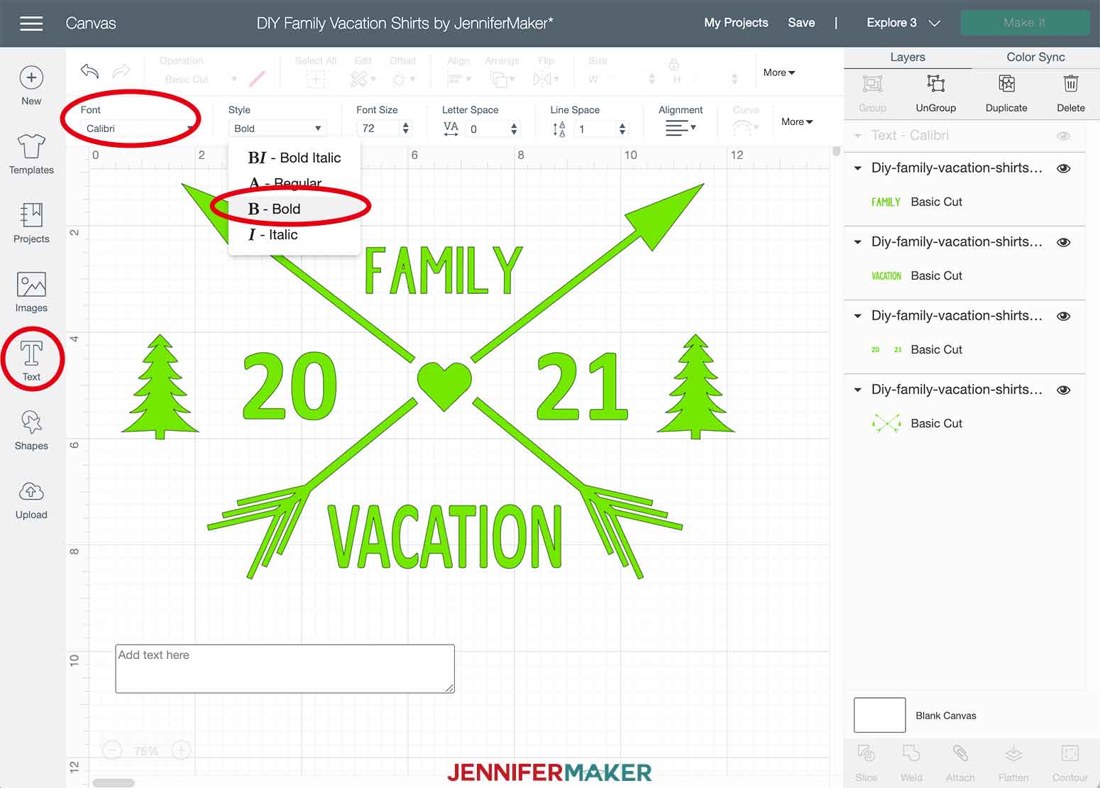 DIY Family Vacation Shirts Cricut Design Space Add Text
