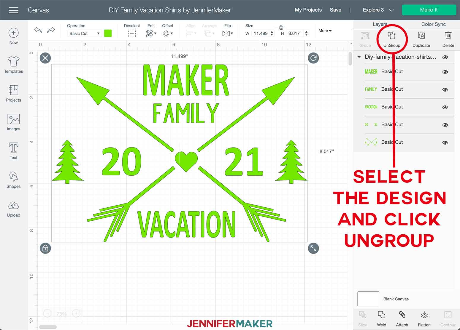 DIY Family Vacation Shirts Cricut Design Space Ungroup