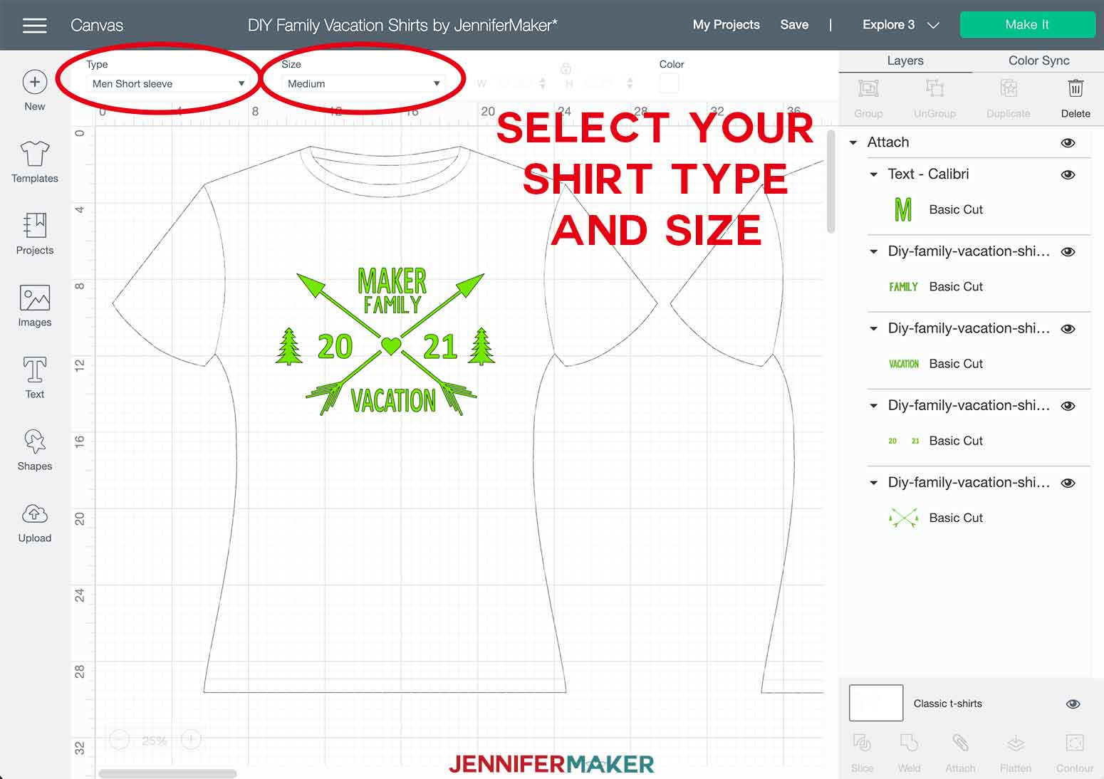 DIY Family Shirts Type and Size