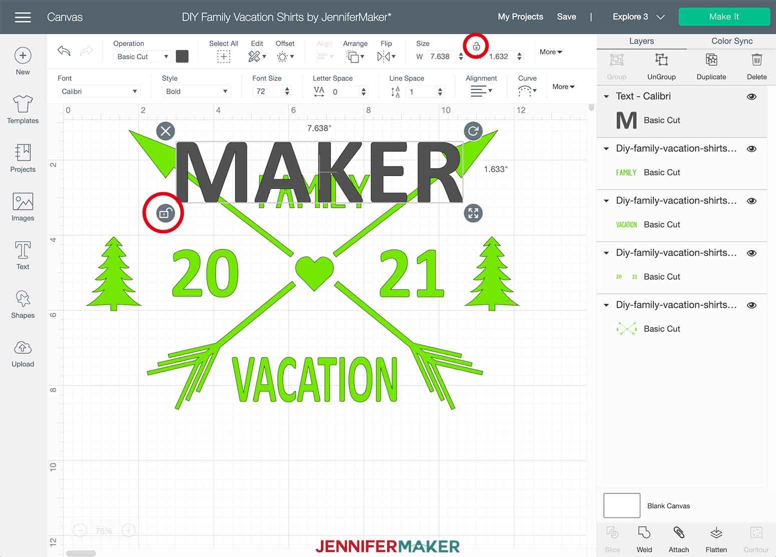 DIY Family Vacation Shirts Cricut Design Space Unlock Text Layer