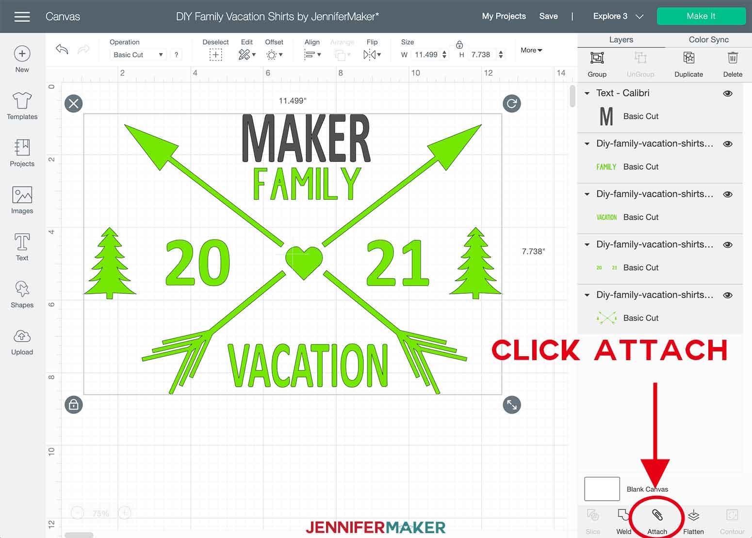 DIY Family Vacation Shirts Cricut Design Space Attach