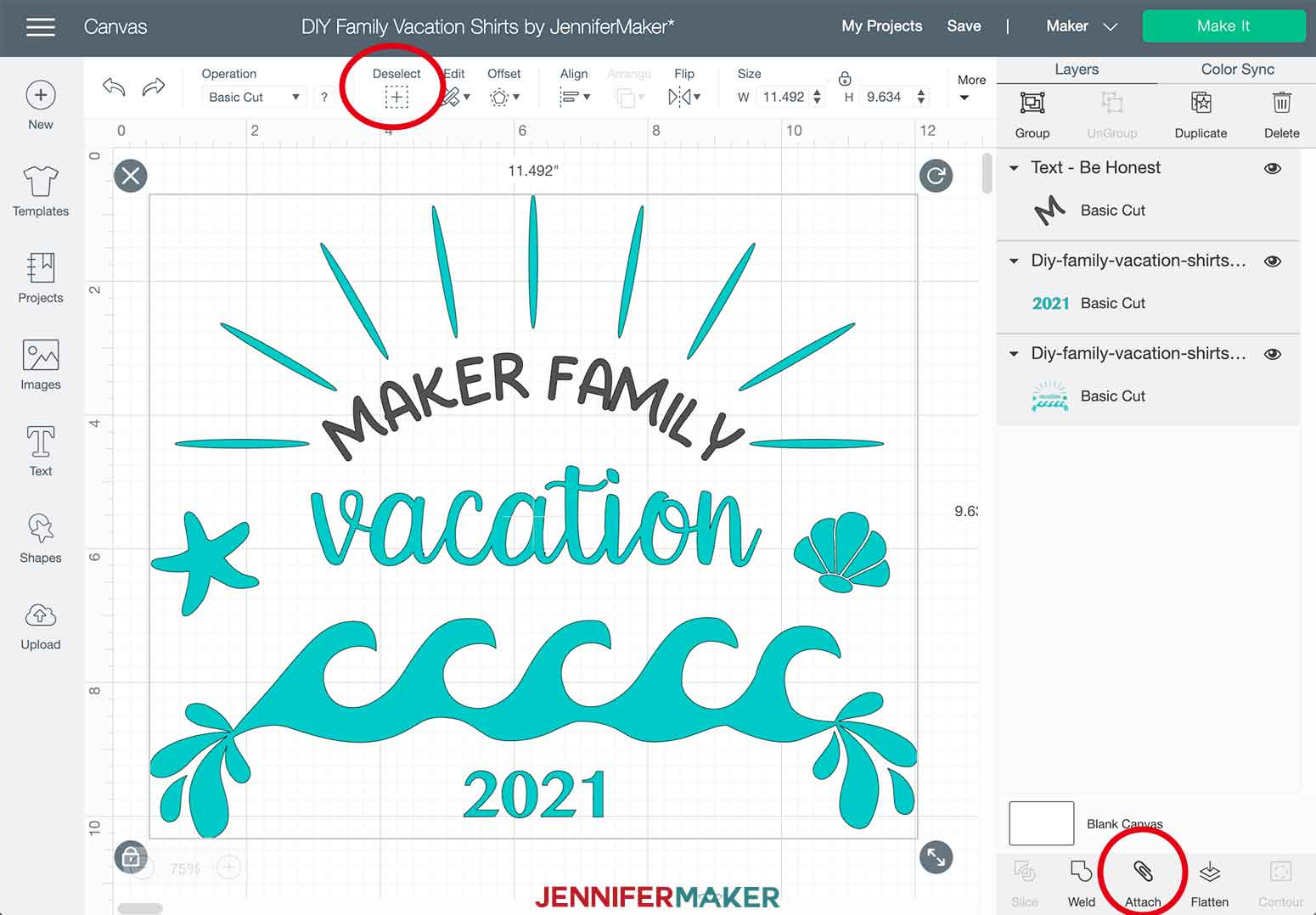 DIY Family Vacation Shirts Cricut Design Space Attach Design