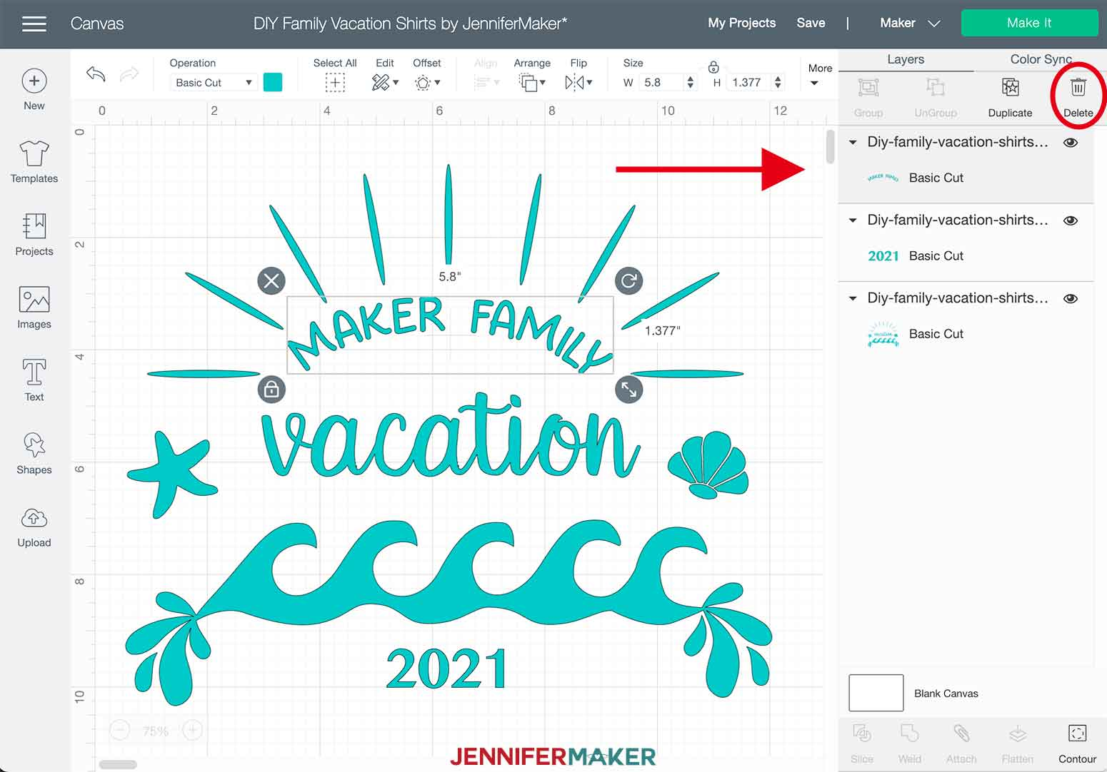 DIY Family Vacation Shirts Delete Text Layer in Cricut Design Space