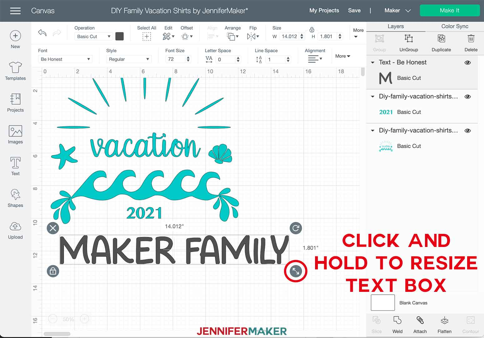 DIY Family Vacation Shirts Beach Resize Text Layer