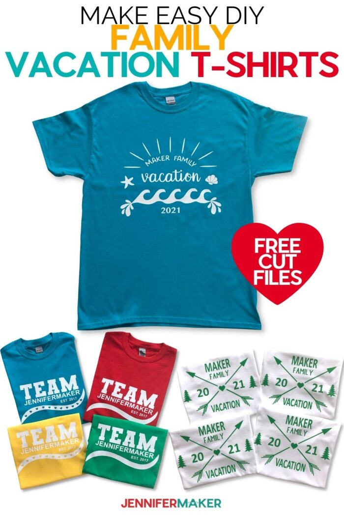 Fast & easy family vacation shirts made without a mat on a Cricut #cricut #easycrafts #customshirts