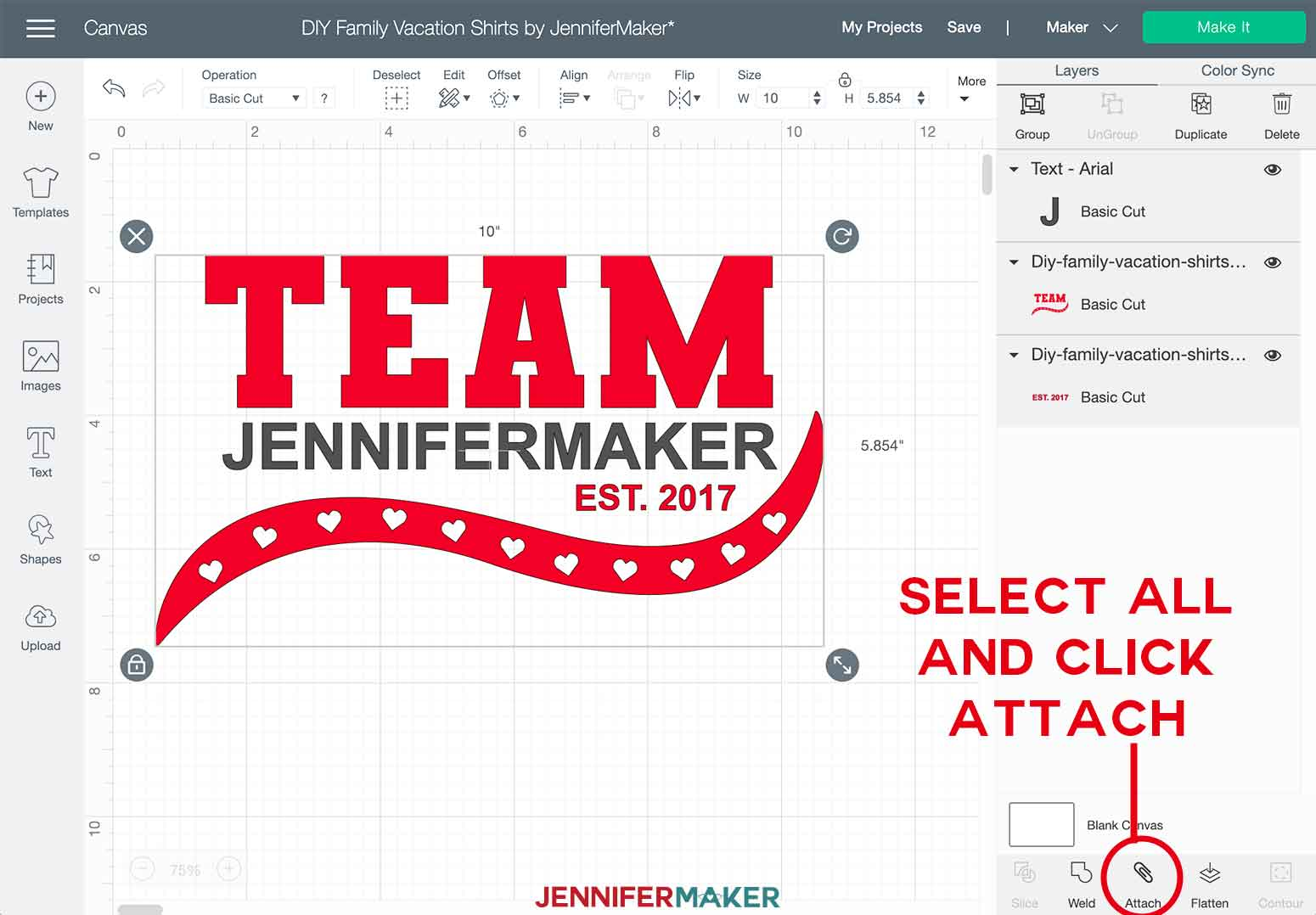DIY Personalized Family Shirts Team Attach Layers in Cricut Design Space