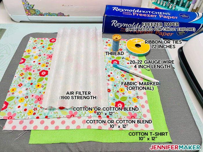 Materials, fabric, thread, and filter to make Cricut face mask patterns