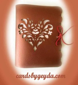 Brown leather heart cutwork journal designed by JenniferMaker and made by CardsbyGeyda