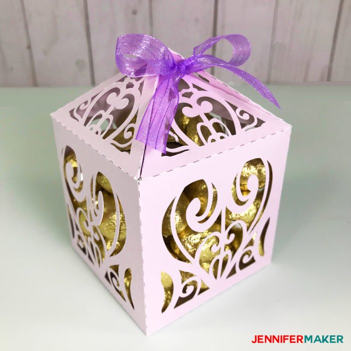 Lavendar paper filigree diy favor box or treat box made with shimmer paper on a Cricut