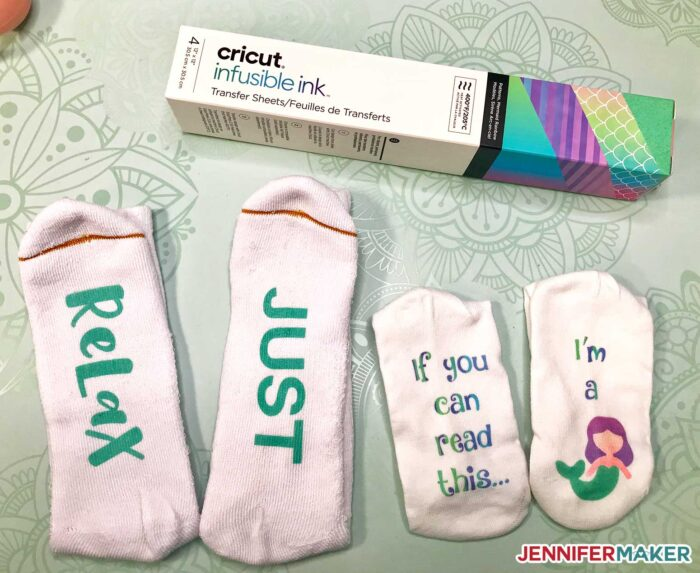 DIY Funny Socks with Sayings made with Infusible Ink and polyester socks