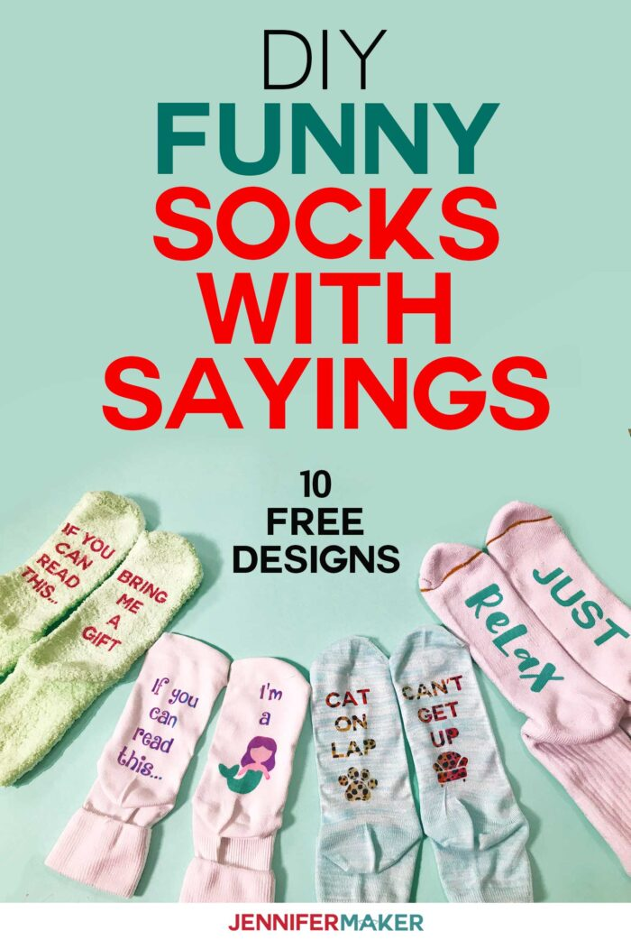 DIY Funny Socks with Sayings made with Iron On Vinyl and Infusible Ink #cricut #infusibleink #socks