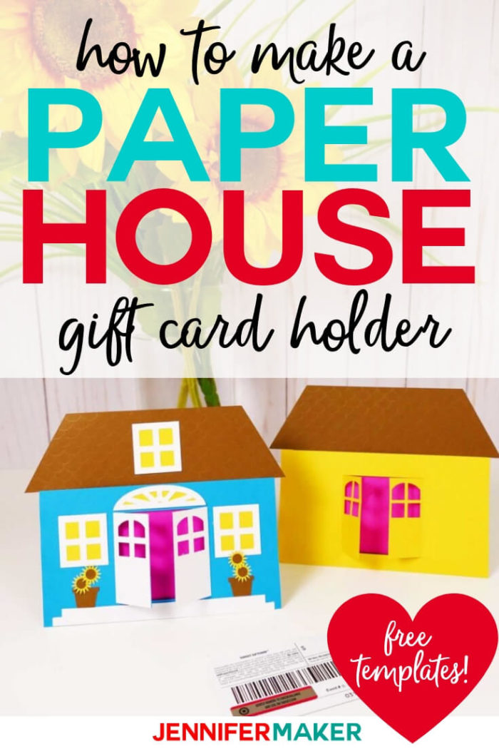 This DIY house gift card holder is perfect for home owners, for house warmings, and for just sending love from your home to theirs! Grab the free cut file and pattern to make your own.  #cricut #cricutmade #cricutmaker #cricutexplore #svg #svgfile