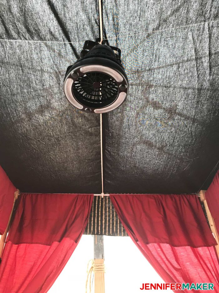 DIY four poster bed with canopy is a fun glamping idea