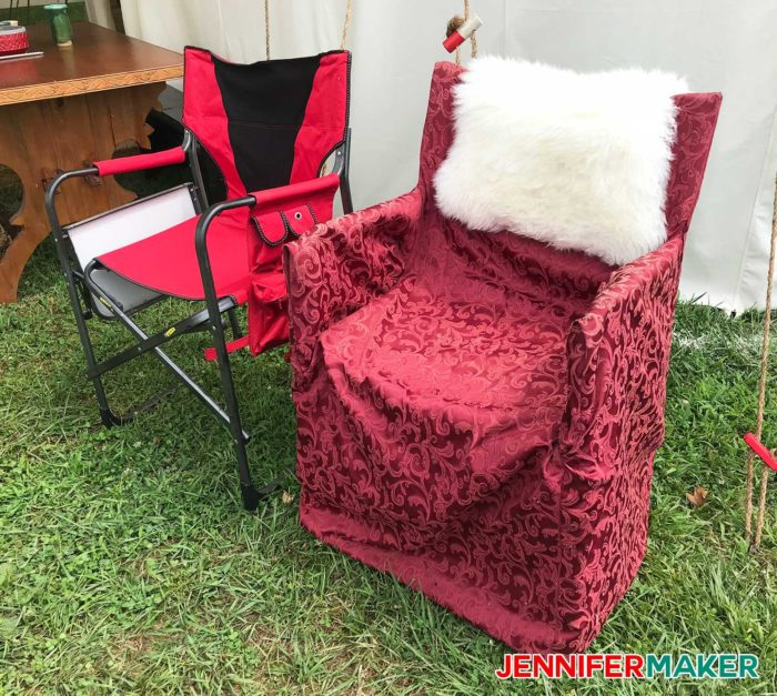How to upholster camp chairs to look fabulous, a DIY glamping idea