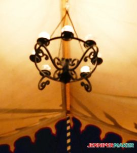 Glamping chandelier with LED tea lights, an easy DIY glamping idea