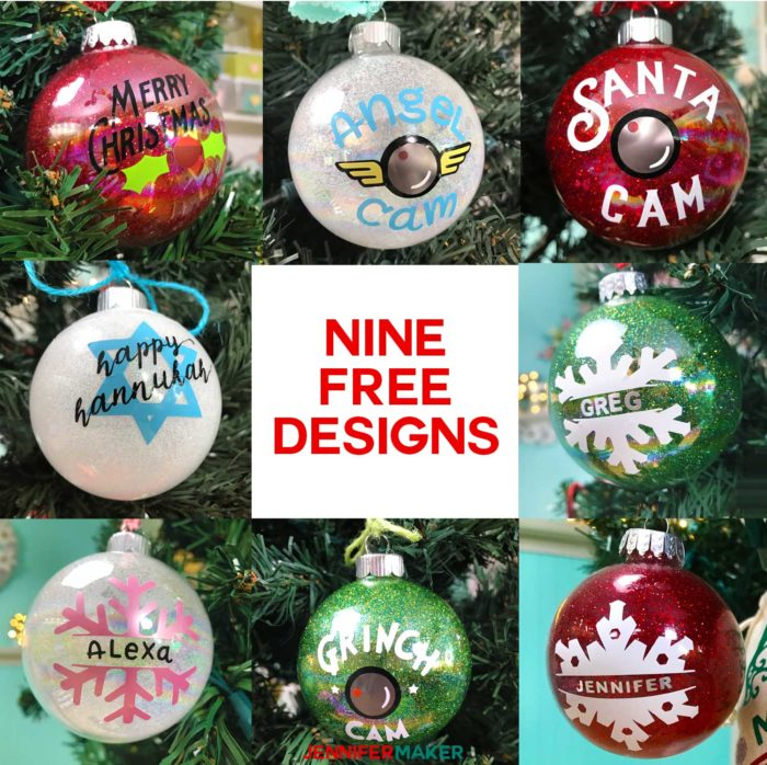 Free ornament designs and SVG cut files for DIY glitter ornaments, includes personalization