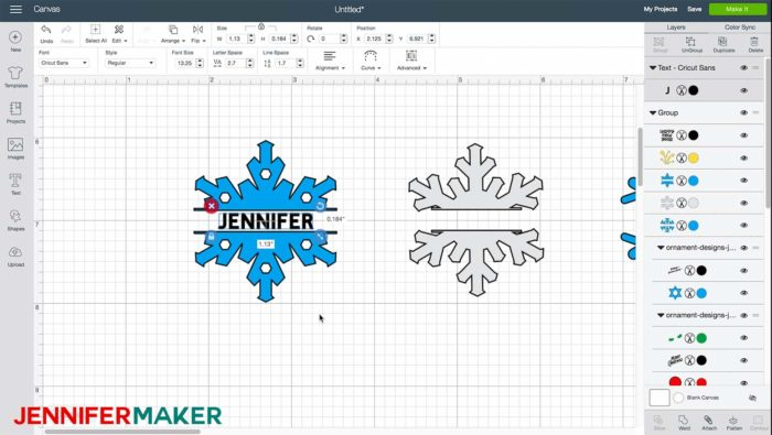 Personalizing a snowflake design in Cricut Design Space to make DIY glitter ornaments
