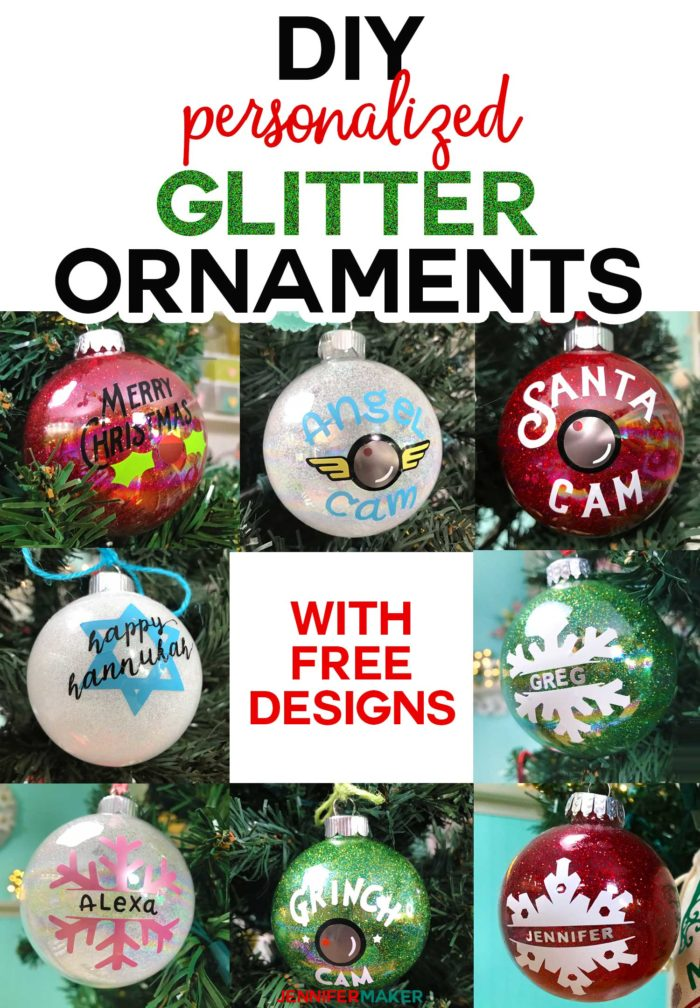 DIY Glitter Ornaments Personalized on a Cricut! #glitter #ornaments #holidaydecor #cricut #svgcutfile #santacam #grinch #snowflake