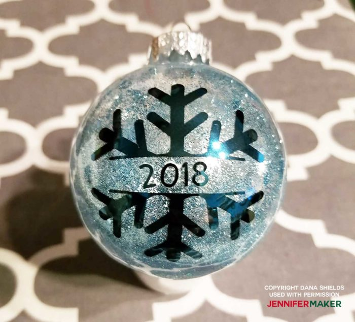 Personalized glitter ornament with a snowflake made by reader Dana Shields