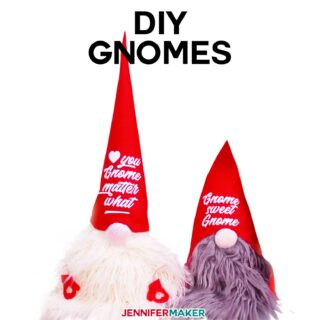 Fun & Easy DIY Gnomes with Free hat patterns and decorations you can cut on your Cricut! - Make a Christmas gnome! #cricut #christmascraft #gnomes