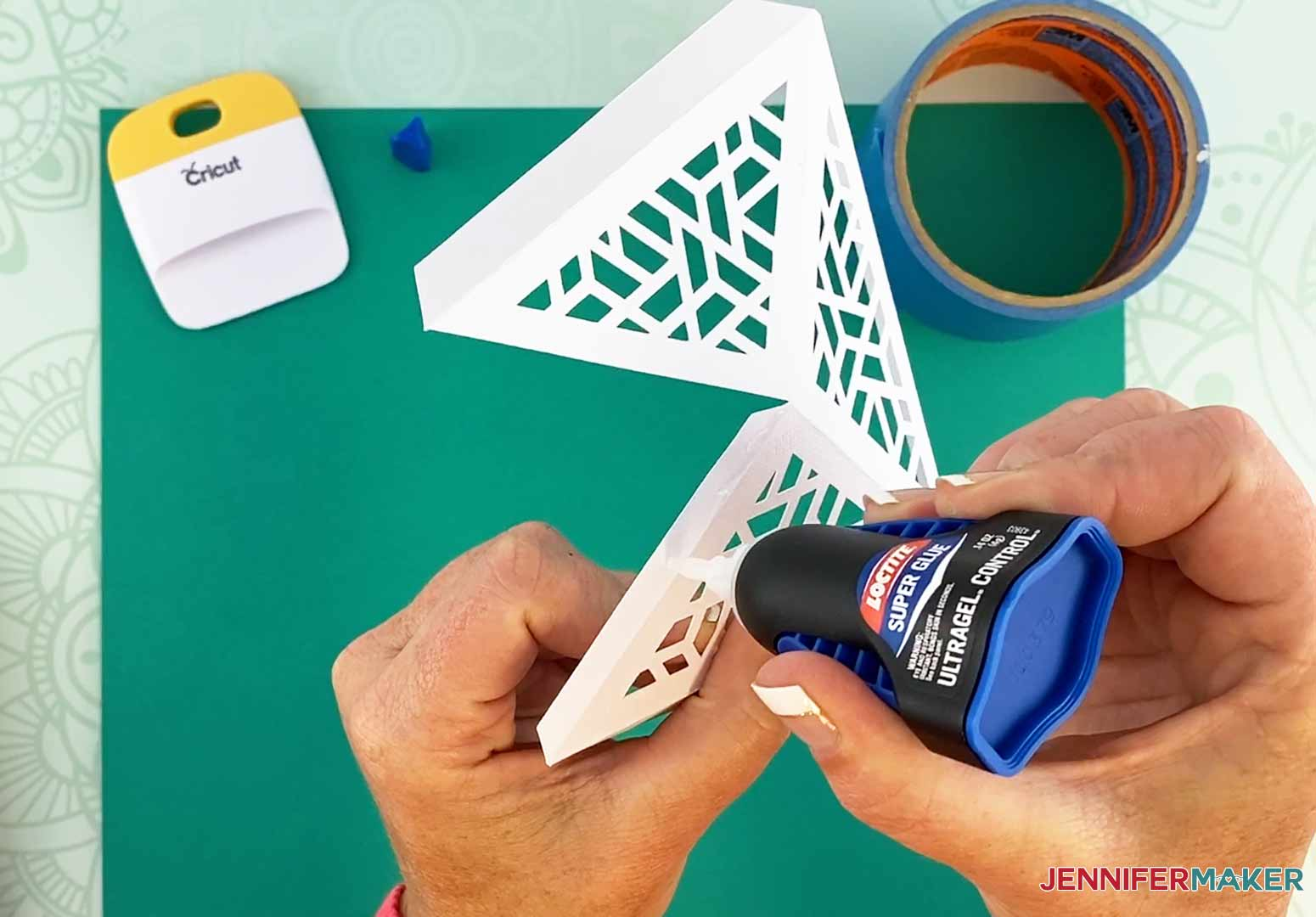 Add glue to the inner flap of each piece for my DIY Hanging Lamp