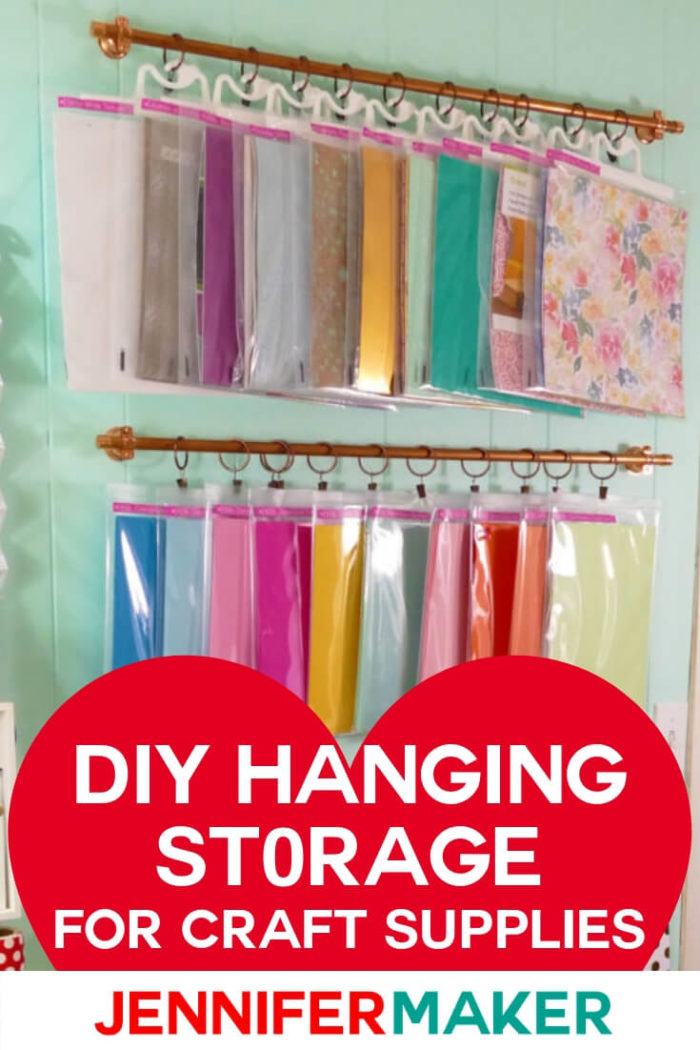 Organize your little stuff with this easy-to-make DIY hanging storage system, perfect for craft rooms! This is a really easy and versatile storage solution for narrow spaces.  #diy #craftroom #papercrafts #papercrafting