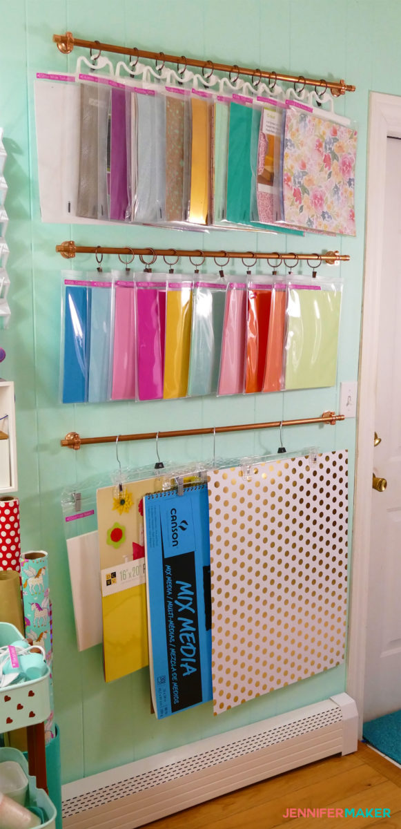 DIY Hanging Storage System For Craft Supplies And Tools #craftroom #storage  #hanging #
