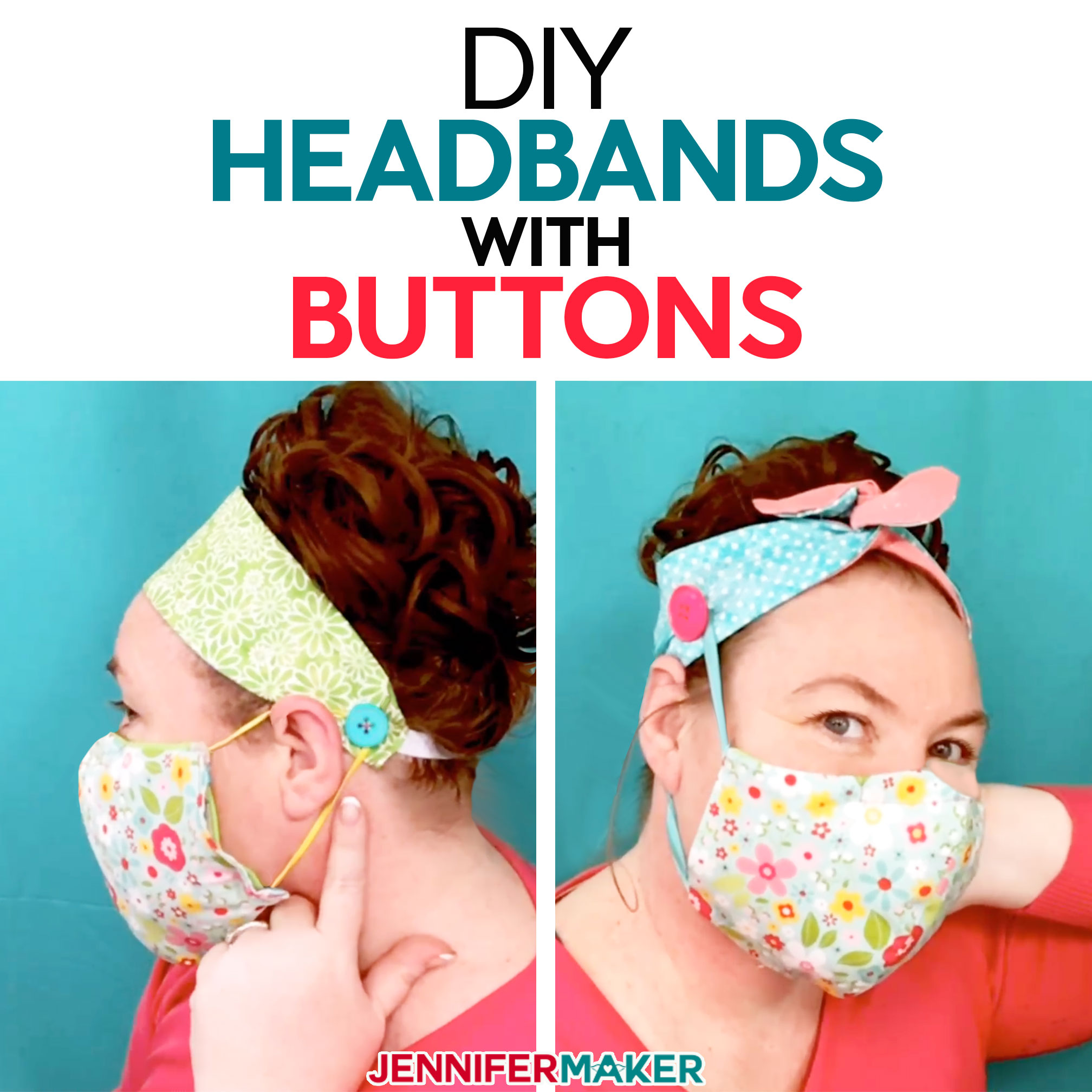 DIY Headbands with Buttons For Masks - Jennifer Maker