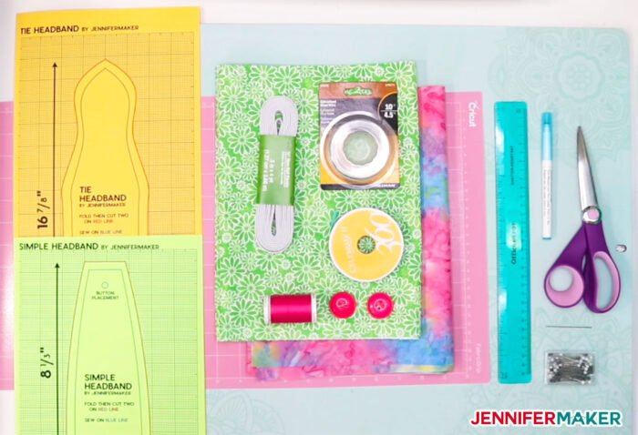 Materials to make the DIY Headbands with Buttons for Masks in several different styles