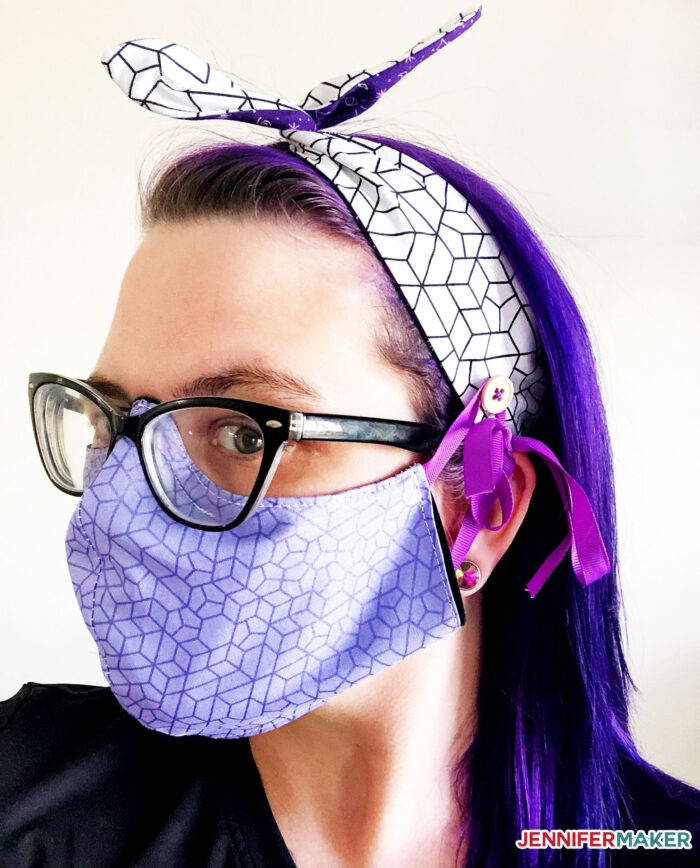 DIY Headbands with Buttons for face masks in white and purple cotton with a button